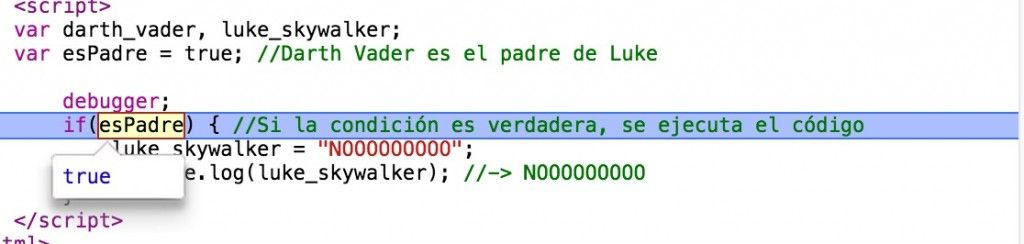 debugger; en Chrome